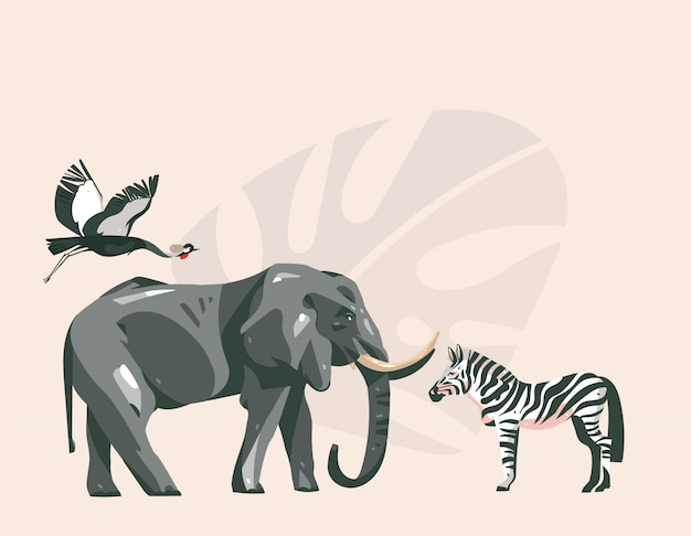 Ręcznie rysowane abstrakcyjne kreskówki nowoczesny afrykański kolaż safari ilustracje sztuki ze zwierzętami safari na tle pastelowych kolorów