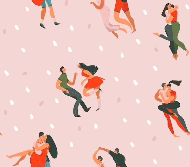 Ręcznie rysowane abstrakcyjne kreskówki nowoczesny graficzny happy valentines day