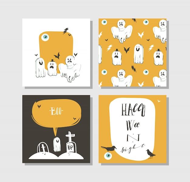 Ręcznie rysowane abstrakcyjne kreskówki wesołego halloween ilustracje stron plakaty i karty zbiórki z duchami, nietoperzami, grobami i nowoczesną kaligrafią na białym tle.