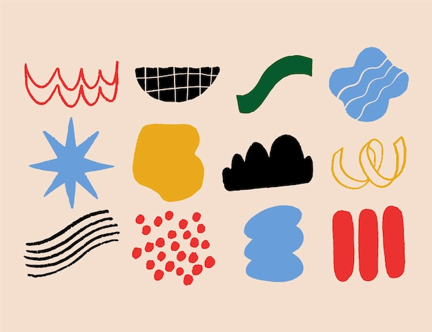 Ręcznie rysowane abstrakcyjne kształty kolekcji