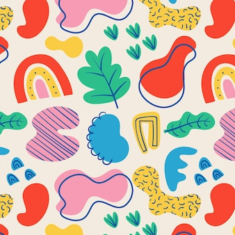Ręcznie rysowane abstrakcyjne kształty kolorowy wzór
