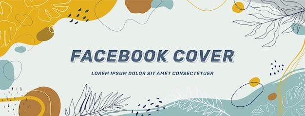 Ręcznie rysowane abstrakcyjne kształty okładka na facebooku
