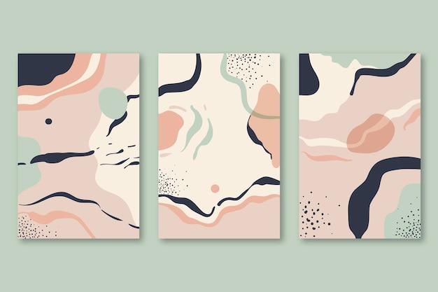 Ręcznie rysowane abstrakcyjne kształty opakowanie okładki