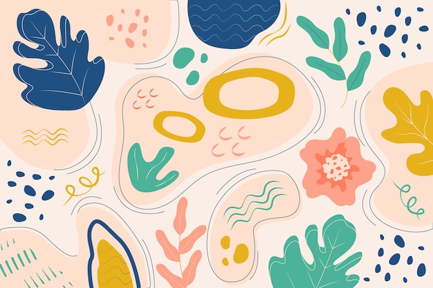 Ręcznie rysowane abstrakcyjne kształty organiczne koncepcja tło