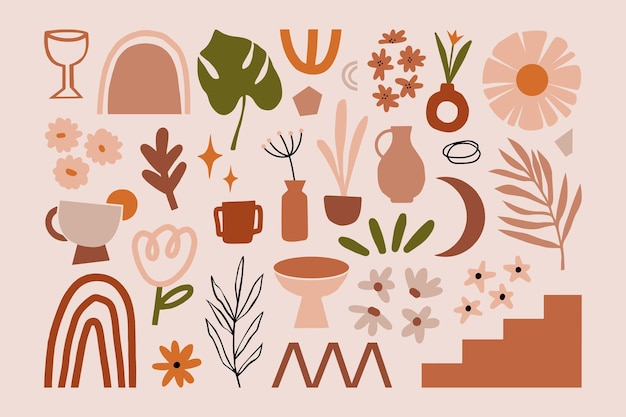 Ręcznie rysowane abstrakcyjne kształty organiczne współczesna nowoczesna modna ilustracja