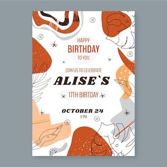 Ręcznie rysowane abstrakcyjne kształty szablon zaproszenia urodzinowego