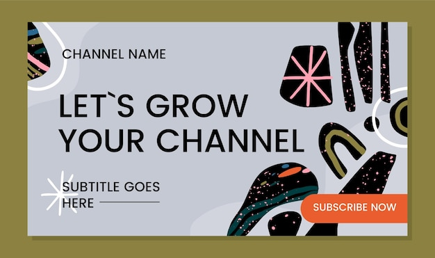 Ręcznie rysowane abstrakcyjne kształty sztuka kanału youtube