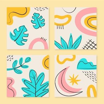 Ręcznie rysowane abstrakcyjne kształty w stylu zestaw okładek