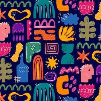 Ręcznie rysowane abstrakcyjne kształty wzór