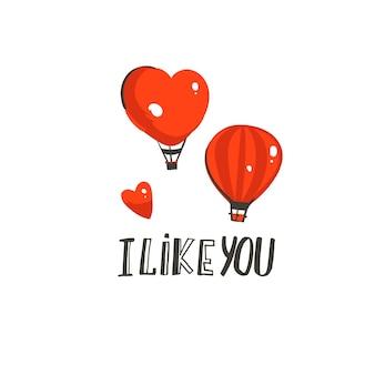 Ręcznie rysowane abstrakcyjne nowoczesne kreskówki happy valentines day koncepcja ilustracje