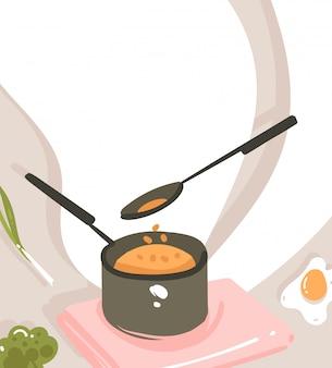 Ręcznie rysowane abstrakcyjne nowoczesne kreskówki klasy gotowania ilustracje plakat z przygotowywaniem sceny żywności, rondel, łyżka i miejsce na tekst na białym tle
