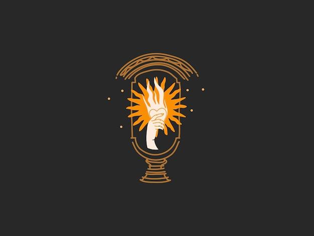 Ręcznie rysowane abstrakcyjne płaskie graficzne ilustracja z elementami logo, złotym słońcem i kobiecą ręką w łuku, magiczna grafika liniowa w prostym stylu dla marki, na białym na czarnym tle.