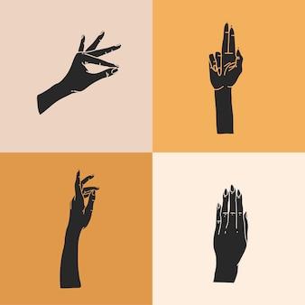 Ręcznie rysowane abstrakcyjne płaskie graficzne ilustracja z zestawem elementów logo, sylwetki ludzkich rąk, linia, magiczna sztuka w prostym stylu dla marki, na białym tle na kolorowym tle.