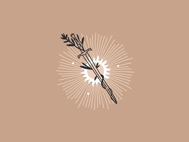 Ręcznie rysowane abstrakcyjne płaskie graficzne ilustracja ze współczesnymi estetycznymi elementami logo, słońcem, mieczem i łukiem, magiczną grafiką liniową w prostym stylu do brandingu, na białym tle.