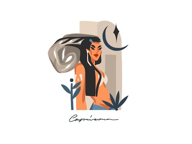 Ręcznie rysowane abstrakcyjne płaskie ilustracja ze znakiem zodiaku koziorożec z magiczną postacią żeńską uroda, projekt artystyczny kreskówka na białym tle