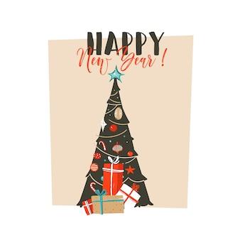 Ręcznie rysowane abstrakcyjne zabawy wesołych świąt czas ilustracja kreskówka kartkę z życzeniami z niespodzianką, choinką i nowoczesną typografią szczęśliwego nowego roku na białym tle.