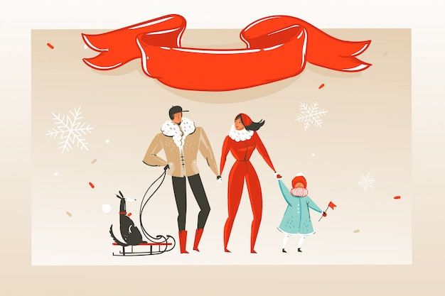 Ręcznie rysowane abstrakcyjne zabawy wesołych świąt czas ilustracja kreskówka kartkę z życzeniami z szczęśliwą rodziną i czerwoną wstążką z miejscem kopii na tle rzemiosła.