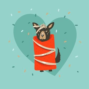 Ręcznie rysowane abstrakcyjne zabawy wesołych świąt i szczęśliwego nowego roku kartkę z życzeniami ilustracja kreskówka z boże narodzenie ładny zabawny pies w papier pakowy i konfetti na niebieskim tle
