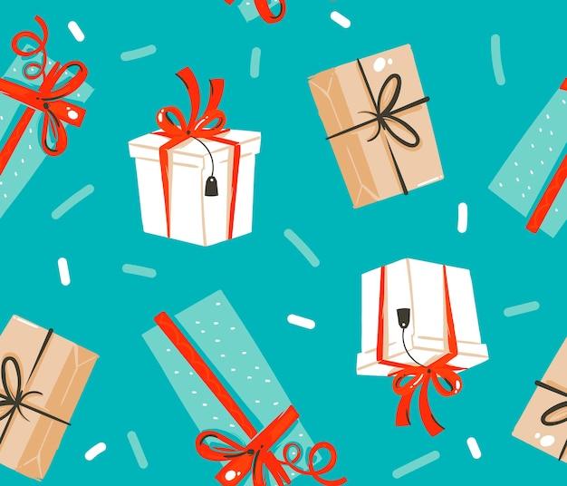 Ręcznie Rysowane Abstrakcyjne Zabawy Zapasów Płaskie Wesołych świąt I Szczęśliwego Nowego Roku Kreskówka Uroczysty Wzór Z Uroczymi Ilustracjami świątecznych Pudełek Retro Na Białym Tle Na Kolorowym Tle Premium Wektorów