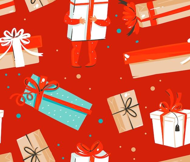 Ręcznie rysowane abstrakcyjne zabawy zapasów płaskie wesołych świąt i szczęśliwego nowego roku kreskówka uroczysty wzór z uroczymi ilustracjami świątecznych pudełek retro na białym tle na kolorowym tle