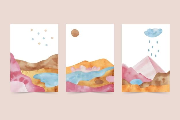 Ręcznie rysowane abstrakcyjny krajobraz obejmuje kolekcję