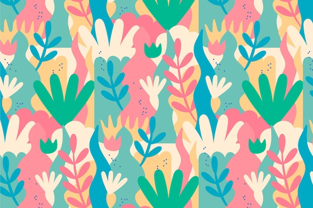 Ręcznie rysowane abstrakcyjny wzór liści