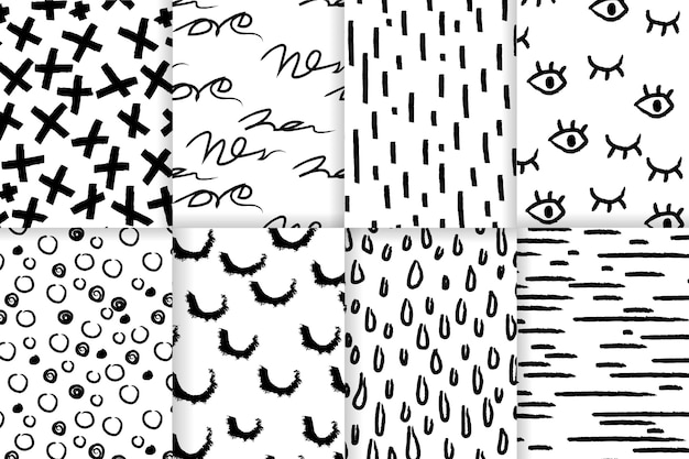 Ręcznie rysowane abstrakcyjny wzór zestawu