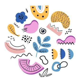 Ręcznie rysowane abstrakcyjny zestaw kolorowych kształtów