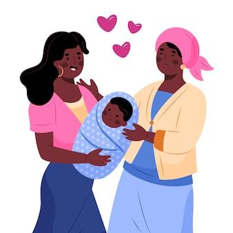 Ręcznie rysowane afroamerykańskiej rodziny z dzieckiem