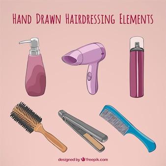 Ręcznie rysowane akcesoria dla fryzjerstwa