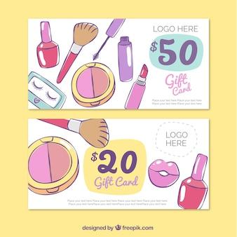 Ręcznie rysowane akcesoria make-up banery
