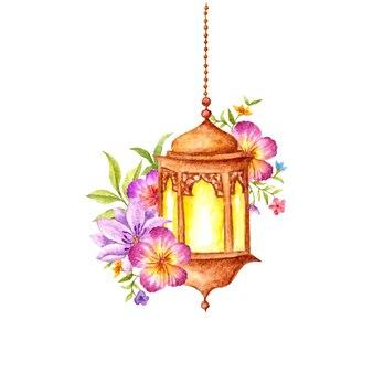 Ręcznie rysowane akwarela arabski wisząca latarnia z kwiatem i liśćmi