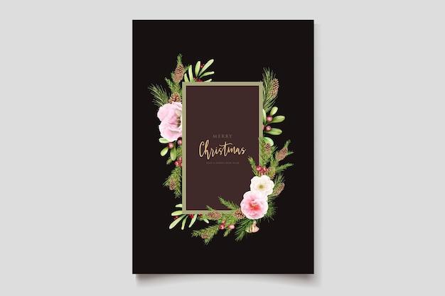 Ręcznie rysowane akwarela boże narodzenie kwiatowy i liście