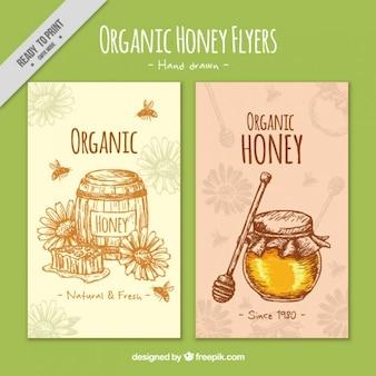 Ręcznie rysowane akwarela broszura miodu