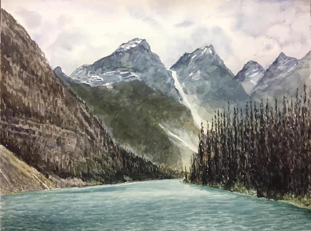 Ręcznie rysowane akwarela ilustracja sceny morskiej i górskiej