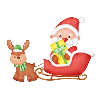 Ręcznie rysowane akwarela kartki świąteczne z ładny mikołaj.
