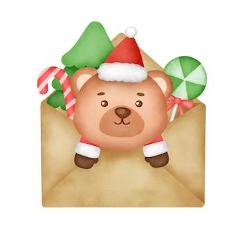 Ręcznie rysowane akwarela kartki świąteczne z słodkim misiem.