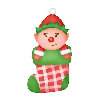 Ręcznie rysowane akwarela kreskówka elf w świątecznej skarpetce.