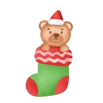Ręcznie rysowane akwarela kreskówka niedźwiedź w świątecznej skarpetce.
