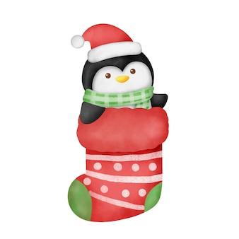 Ręcznie rysowane akwarela kreskówka pingwin w skarpetce boże narodzenie.