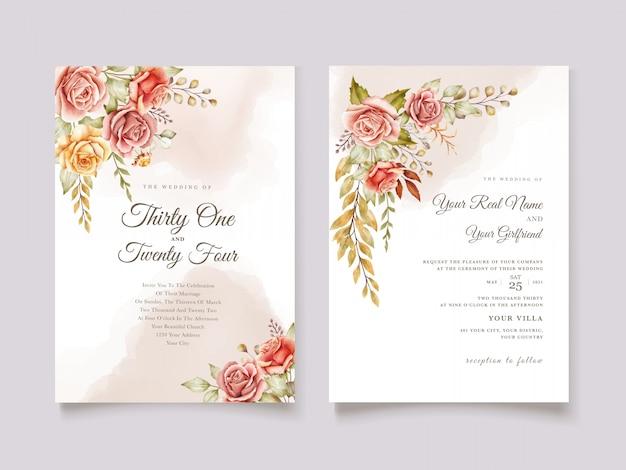 Ręcznie rysowane akwarela kwiatowy ślub karty