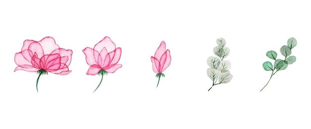 Ręcznie rysowane akwarela kwiatowy sztuka