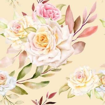 Ręcznie rysowane akwarela kwiatowy wzór bez szwu