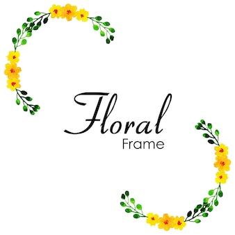 Ręcznie rysowane akwarela kwiatowy wzór ramki