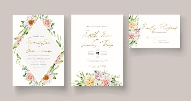 Ręcznie rysowane akwarela kwiatowy zaproszenie karty