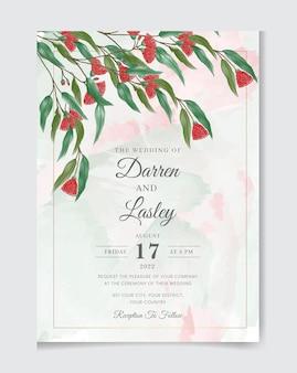 Ręcznie rysowane akwarela kwiatowy zaproszenie na ślub szablon karty