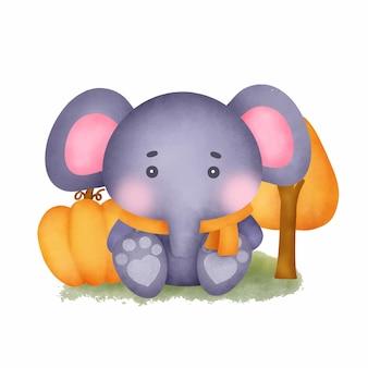 Ręcznie rysowane akwarela ładny słoń.