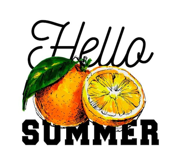Ręcznie rysowane akwarela na białym tle. ilustracja owocowego hasła pomarańczowy witaj lato