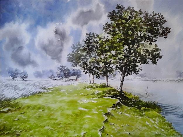 Ręcznie rysowane akwarela natura krajobraz