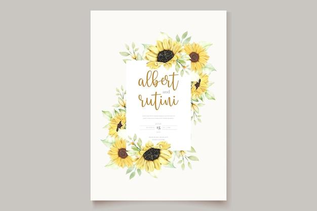 Ręcznie rysowane akwarela słonecznikowa karta ślubna